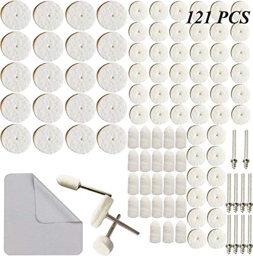 121pcs Wool Felt Polishing Buffing Wheel Pad Mandrel Mounted Grinding Accessories Attachment Rotary Tools Set for Dremel