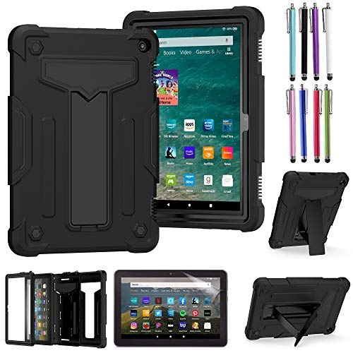 EpicGadget Case for Amazon Fire HD 8 / Fire HD 8 Plus (10th Generation, 2020 Released) - Heavy Duty Hybrid Protective Case Cover with Kickstand + 1 Screen Protector and 1 Stylus (Black/Black)