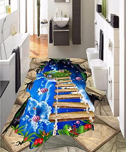 Mural autoadhesivo para pisos Papel tapiz fotográfico personalizado Papel tapiz para pisos Pintado en el suelo Cielo azul Nube blanca Puente de madera Pasillo Pasillo Piso 3D Pintura al aire libre-4