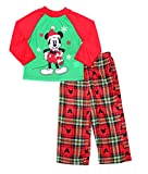 Disney Little Boys Mickey Mouse Christmas Holiday Family Sleepwear Pajamas (4, Boy Mickey Red)