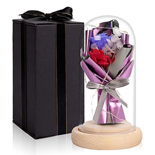HOHO TIME - Rosa encantada bajo campana, rosa eterna con cúpula de...