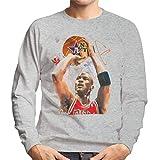 Photo de VINTRO Michael Jordan Red Bulls Jersey Sweat-Shirt Homme Original Portrait par Sidney Maurer (Heather Gray, XL)