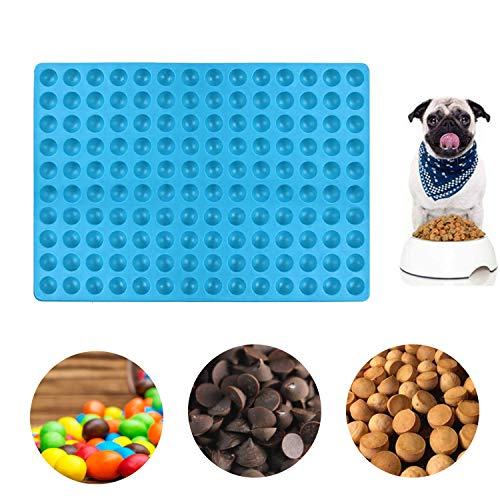 TATAFUN Silikon Backmatte, 2cm Halbkugel Silikonform Mehrzweck Wiederverwendbare Silikon Backform Silikonmatte für Pralinenform Hundekekse Hundeleckerlies (Blau)