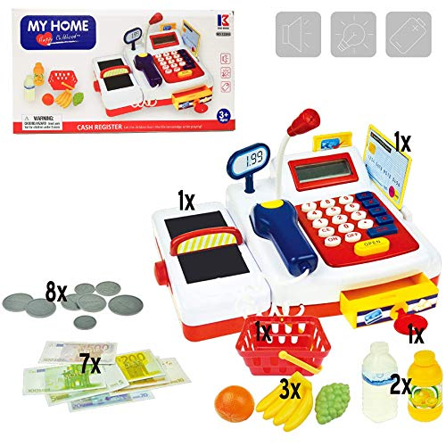 Supermarket Cashier Toy Kids Cash Register Playset, Pretend Play Set for Kids, Colorful Children's Supermarket Checkout Toy with Microphone & Sounds, Ideal Gift for Toddlers & Pre-schoolers