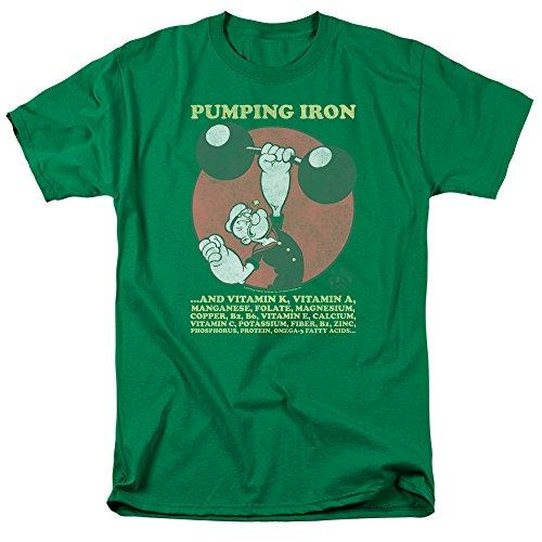 Popeye – Camiseta de hierro bombeo para hombre Verde Verde Kelly L