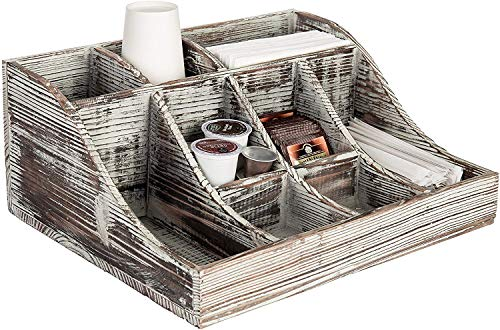 MyGift Torched Wood Countertop Coffee, Tea and Condiment Holder Storage Caddy with 9-Compartments