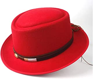 PengCheng Pang Unisex Men Women Pork Pie Hat with Belt Retro Trilby Hat Tea Party Hat Outdoor Casual Hat Size 58CM (Color : Red, Size : 58)