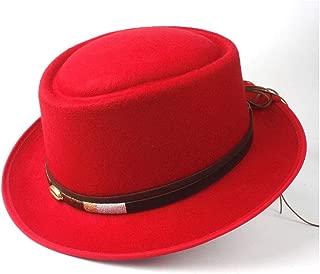 2019 Mens Womens Hats Unisex Men Women Flat Top Pop Church Soft Autumn Winter Fashion New Pork Pie Hat with Belt Retro Trilby Hat Tea Party Hat Outdoor Casual Wild Hat (Color : Red, Size : 58)