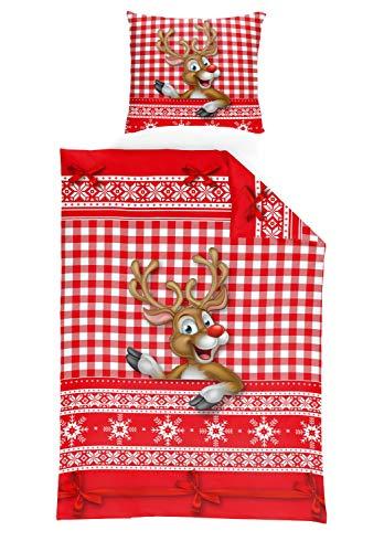 Schlafwohl Basic® weiche Microfaser Bettwäsche I X-Mas Design I Weihnachten I Bettbezug im 2er Set I Deckenbezug: 135x200cm I Kissenbezug: 80x80cm I Farbe: Rot