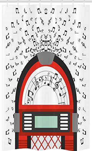 ABAKUHAUS Jukebox Douchegordijn, De antieke Oude Radio Box, voor Douchecabine Stoffen Badkamer Decoratie Set met Ophangringen, 120 x 180 cm, Wit Zwart Rood
