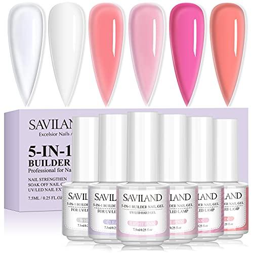 Saviland 5-in-1 Builder Nail Gel Set - 6 Colors Base Strengthening Gel Set with...