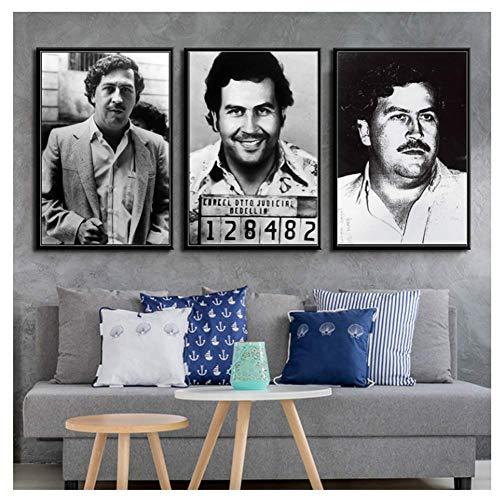 nr Pablo escobar karakter legende retro vintage posters en prints schilderijen muurkunst canvas muurschildering-50x70cmx3 frameloos