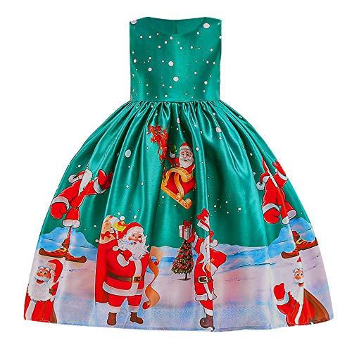 Preisvergleich Produktbild WEXCV Mädchen Spitze Weihnachten Schneemann Drucken Kleider Süß Elegant Kinderkleidung Prinzessin Anziehen Hochzeit Festlich Festzug Kleidung