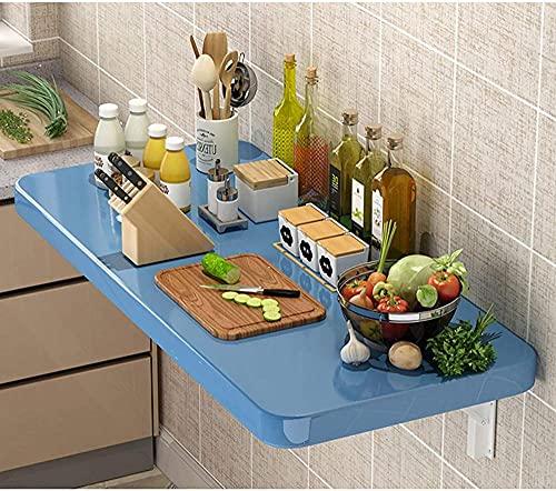 Escritorio plegable de pared para oficina, hogar, cocina, plegable, flotante, escritorio, moderno, estilo industrial, pequeño, color marfil, 31 x 12 pulgadas, azul, 39 x 12 pulgadas