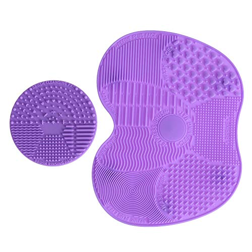 LEADSTAR Silicone Pennelli Pulizia Tappetino 2 Pezzi Brush Cleaner Mat (Viola)