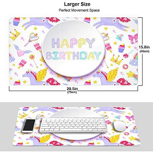 Gelukkige Verjaardagskaart Pegasus Eenhoorn Dessert Muismat Mousepad Muis Mat Antislip Rubber Duurzaam