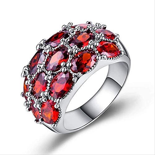IWINO 925 Silberring für Frauen mit ovalem Rubin Edelstein Designer Silber Feinschmuck Frauen Party Geschenk 9 Rot