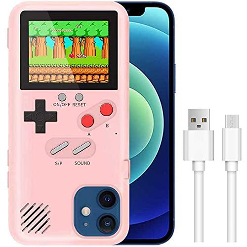 LIOWE Gameboy Hülle für iPhone, 3D Handheld Retro Spielkonsole Handy Schutzhülle mit 36 kleinen Spielen, Stoßfest Videospiel Case für iPhone12, iPhone 12 Pro, Rosa