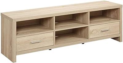 45d89eb7177a CHOOSEandBUY Light Wood-Grain Modern 60-inch TV Stand Entertainment Center  New Sturdy Classic