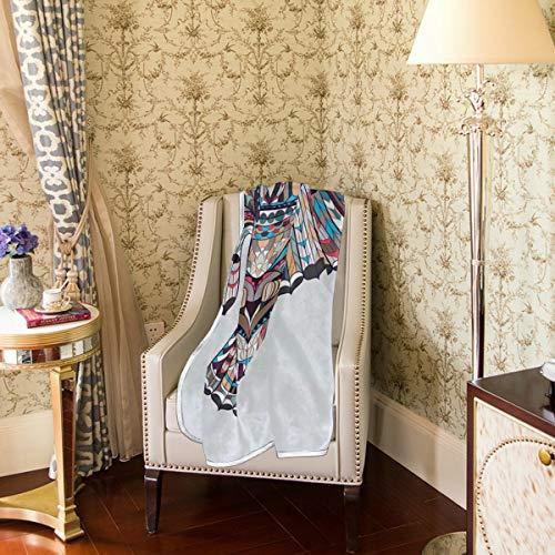 Lupinz Fleece-Decke mit Eulen-Motiv, Überwurf, flauschig, weich, 127 x 152 cm