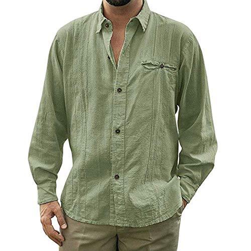 CFWL Einfarbiges Langarm-Strickjacke-Hemd Mit Knopfverschluss FüR Herren Slim-Fit BüGelleicht Core Stretch Slim Poplin Shirt Freizeithemd Jeanshemd Herren Denim Shirt Cowboy-Style GrüN XL