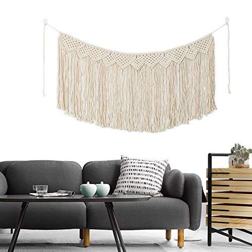 Nuptio Makramee Wandbehang Vorhang Boho Art Wand Wohnkultur, Rustikale Beige Baumwolle Handgefertigte Wandteppiche...