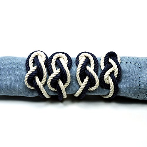 Figure Eight Infinity Knot Napkin Rings Navy and White Set of 4