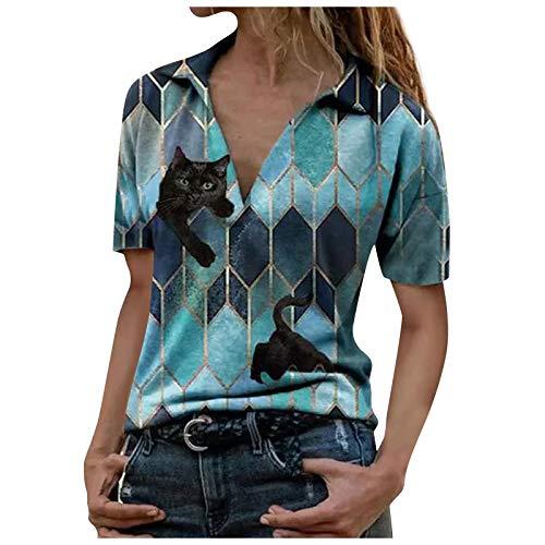 Sweatshirt Reißverschluss Sportbekleidung Langarmshirt Damen Stilvoll Revers T-Shirt Tops Tasten Bedrucktes Kurzärmeliges Shirts Pullover Herbst Winter Bluse Tee Oberteile (B-Blau, 3XL)