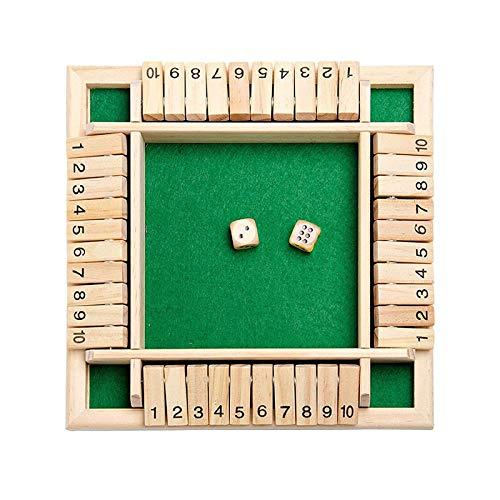 ZWH Numbers Wooden Game Board, 4-Spieler Shut The Box Würfelspiel Mit Würfeln, Lernspielzeug Für Kinder, Erwachsene, Festival- Und Partybedarf