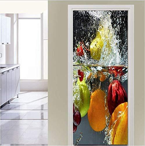 JIEDOUD Etiqueta Engomada De La Puerta 3D Moderna Minimalista Fruta Restaurante Cocina Dormitorio PVC Impermeable Autoadhesivo Decoración De La Puerta Pegatinas-90 * 200 Cm