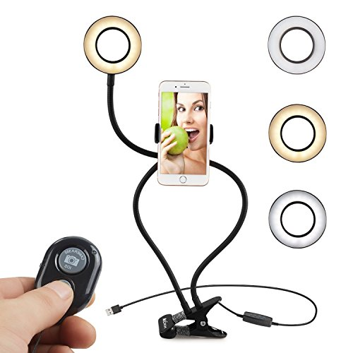 LLFS - Anillo de luz con soporte para teléfono con luz LED para iPhone 8/7/6S, Samsung, HTC, etc. (Negro, mando a distancia)