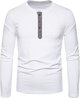 Men T-Shirt Long-Sleeve Round Neck/Stand-Up Collar Regular Fit Pullovers Soft Thin and Light Comfortable T-Shirt Casual Sp...