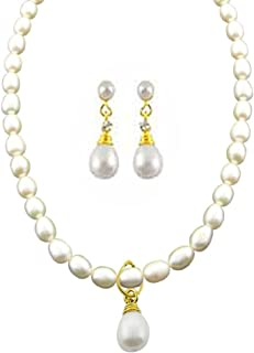 Trendy Souk Women's Splendid Drop Pearl Pendant Single String, Aaa Quality, Real Freshwater Hyderabadi Necklace (Length 17 18 Inches) With Matching Drop Pearls Earrings