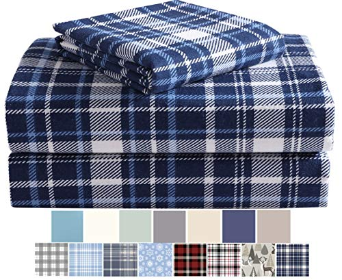 Morgan Home Cotton Turkish Flannel Sheets Fashions - 100% Brushed Cotton for Supreme Comfort - Deep Pockets - Warm and Cozy, Great for All Seasons (Navy Plaid, Queen)