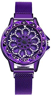 stylish women's watch with rotating dial diamond loaded case stylish mesh magnet buckle
