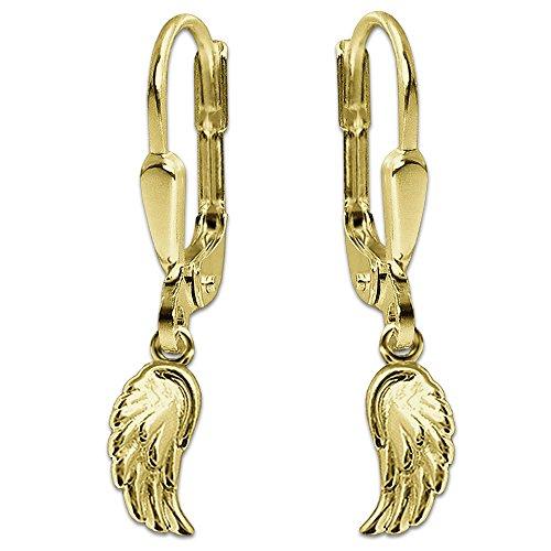 CLEVER SCHMUCK Goldene kleine Kinder Ohrhänger 23 mm mit Mini Engelsflügel 8 mm glänzend 333 Gold 8 Karat für Mädchen
