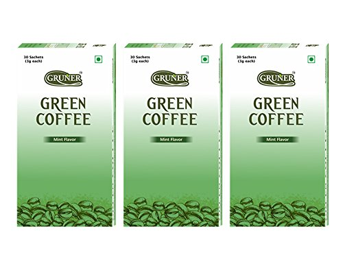 Gruner Mint Flavored Unroasted Green Coffee Powder for Weight Management – 30 Sachets (Each Sachet 3 Gram ) Pack of 3