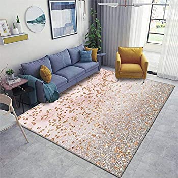Mixed Rose Gold Glitter Gradients Area Rugs Non-Slip Floor Mat Doormats Home Runner Rug Carpet for Bedroom Indoor Outdoor Kids Play Mat Nursery Throw Rugs Yoga Mat