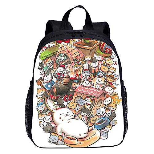 Neko Atsume School Backpack Cool Backpack Cartoon Printing Fashion Backpack Camping Hiking Casual Backpack Sports Backpack (Color : A01, Size : 24 X 12 X 33cm)