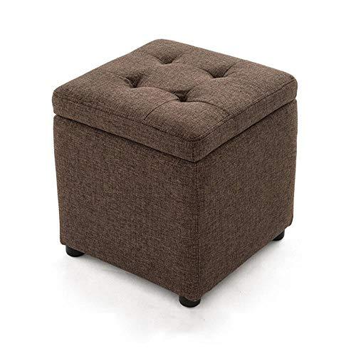 Opbergbank, schoenwissel, zitbank, kruk, gevoerde box, kruk, voetensteun, make-up, zitkussen, voor woonkamer, ingang, bruin, max. 250 kg. 40x40x40cm