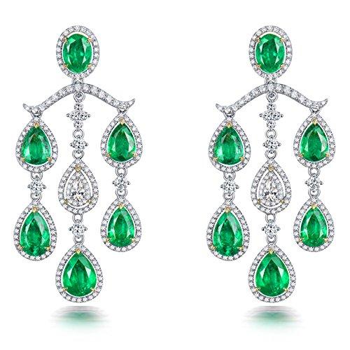 Solido 18K oro bicolore diamante naturale verde smeraldo orecchini per party
