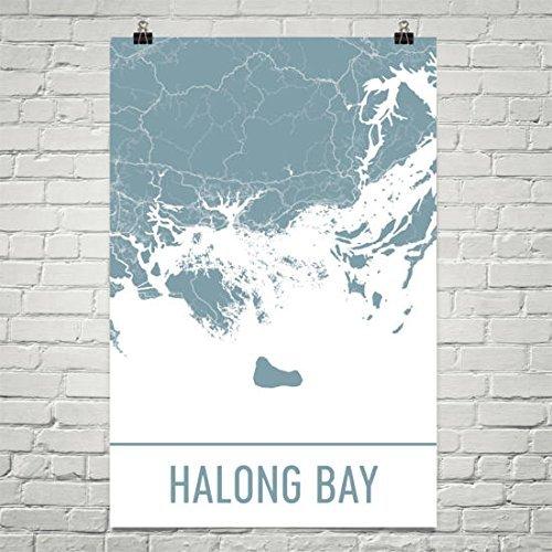 Moderne kaart Kunst Halong Bay Kaart, Halong Bay Art, Halong Bay Print, Halong Bay Vietnam Poster, Vietnam Geschenken, Kaart van Vietnam, Vietnam Poster, Vietnamese Poster
