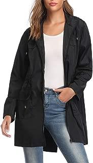 Women's Lightweight Rain Jacket Zip Up Long Waterproof Hooded Raincoat for Outdoor Activities