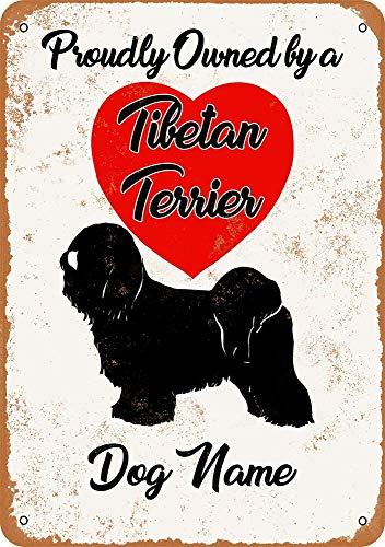Cartel de metal – Nombre de perro personalizado – Terrier tibetano – aspecto vintage 12 x 16 pulgadas