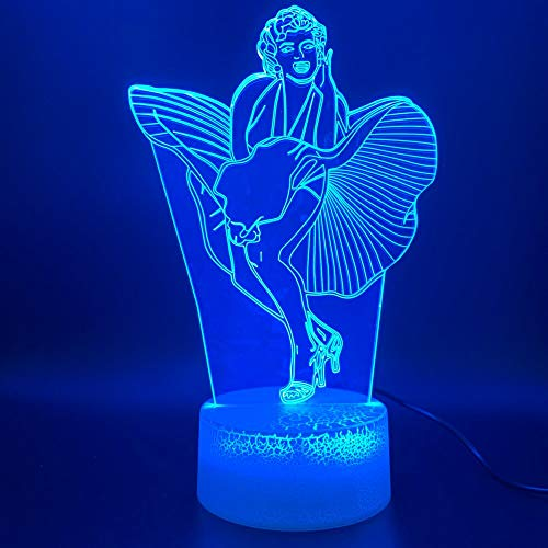 Diseo de arte nico luz de noche led 3d disfraz de celebridad sensor tctil luz de noche luz visual regalo lmpara de mesa pequea 3D