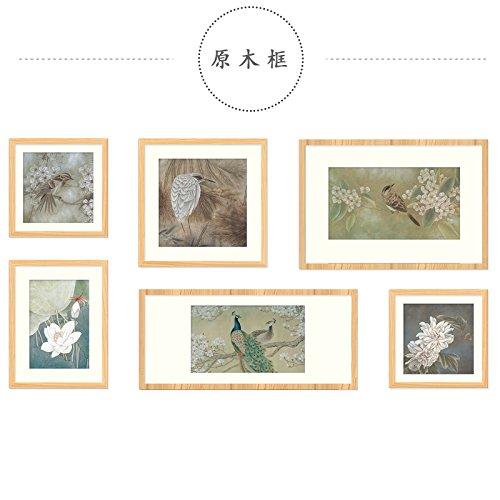 De houten muur van een rechthoekige fotolijst, wandfoto, wandsieraden, Dassgele houten kist
