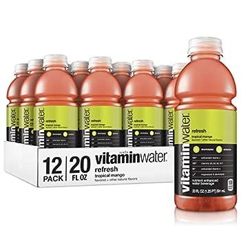 Vitaminwater Refresh Tropical Mango Flavored Electrolyte Enhanced Bottled Water with Vitamin b5 b6 b12 20 Fl Oz  Pack of 12