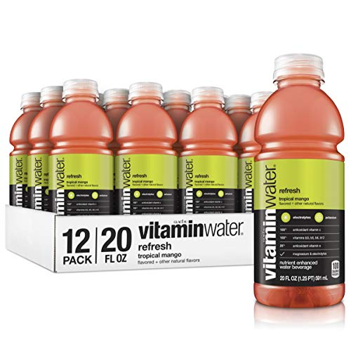 Vitaminwater Refresh, Tropical Mango Flavored, Electrolyte Enhanced Bottled Water with Vitamin b5, b6, b12, 20 Fl Oz, 12 Pack