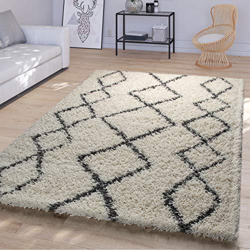 TT Home Alfombra Salón Pelo Largo Shaggy Moderno Diseño Boho Escandinavo Rombos, Color:Crema, Tamaño:120x170 cm