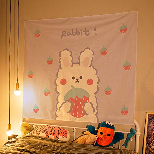 asdas Tapestry Wall Hanging,Polyester Home Decoration Bedroom Living Room Tapestries, Strawberry Rabbit Tablecloth Landscape Art Sofa Background Wall Covering Decoration Gifts Young People,Strawber